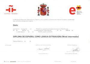Сертификат сдачи международного экзамена по испанскому DELE